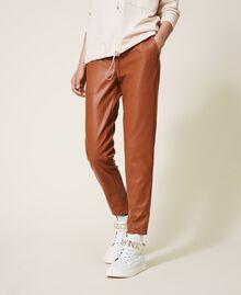 Pantalón pitillo de piel sintética Rojo Terracota Mujer 202LI2GDD-02