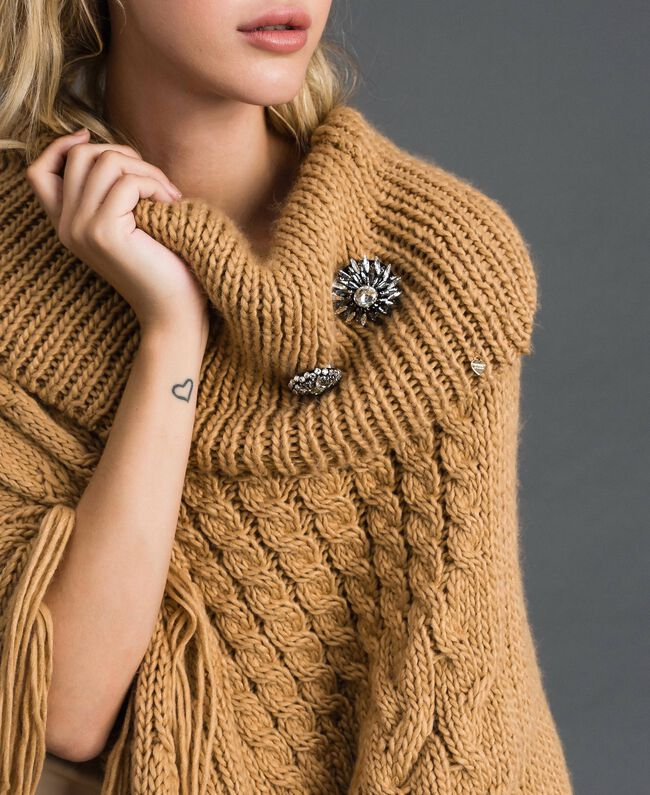 Knit poncho with fringes and bezels Camel Woman 192TO5367-04