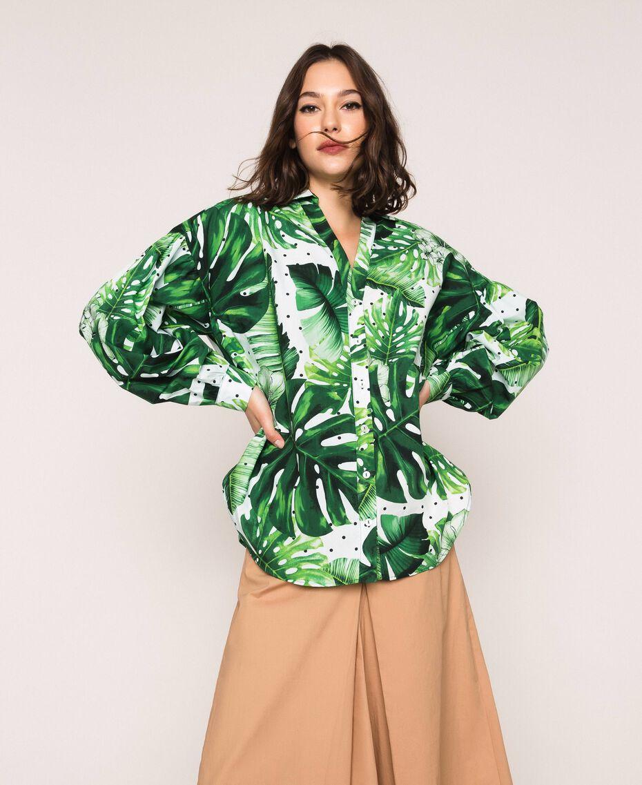 Camicia in popeline stampato Stampa Tropical Pois Verde Donna 201TP2550-01