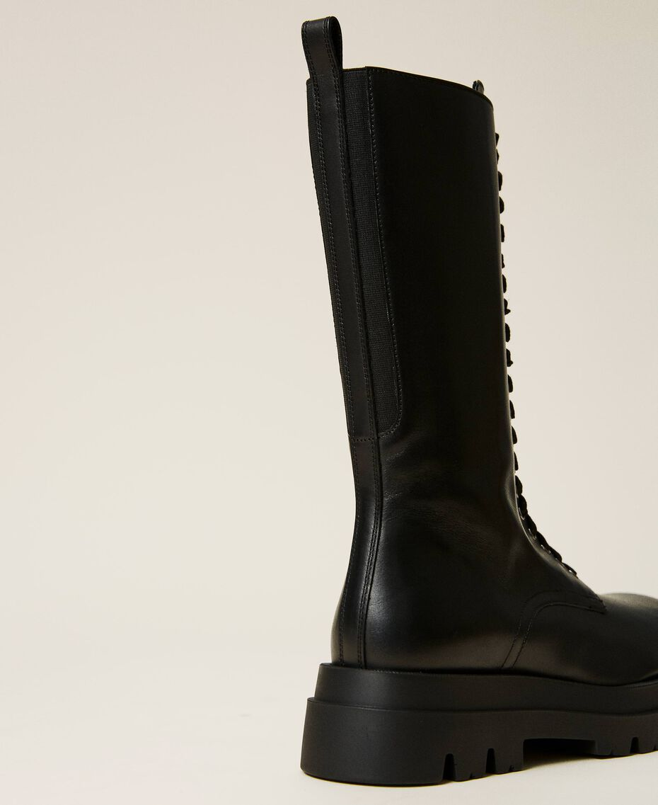 High top leather combat boots Black Woman 212TCP230-03