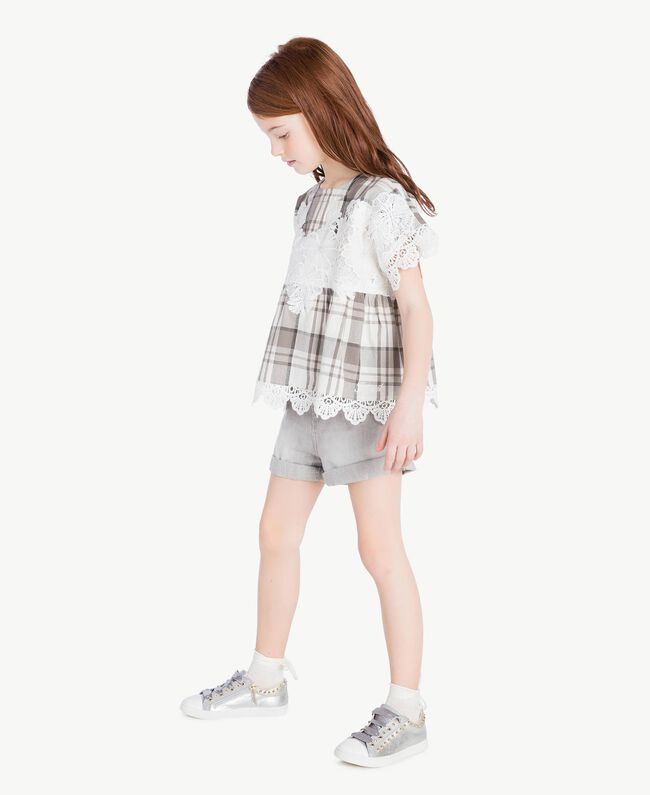 Lace blouse Chantilly Jacquard Check / Smoke Grey Child GS82JR-05