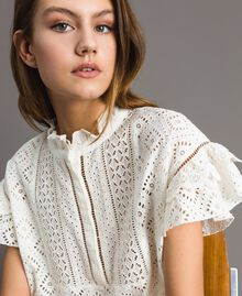 Broderie anglaise and ruffle blouse White Snow Woman 191TT2041-01