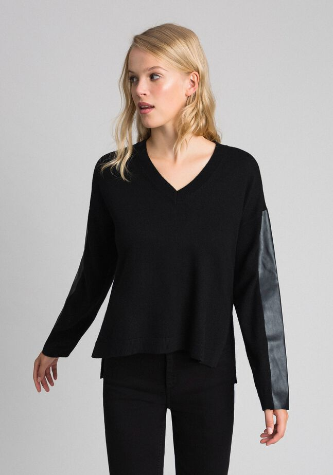 Wool and cashmere jumper with faux leather