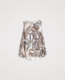 """Top en satin avec motif cachemire Imprimé Paisley / Beige """"Voie Lactée"""" Femme 191LM2SFF-0S"""