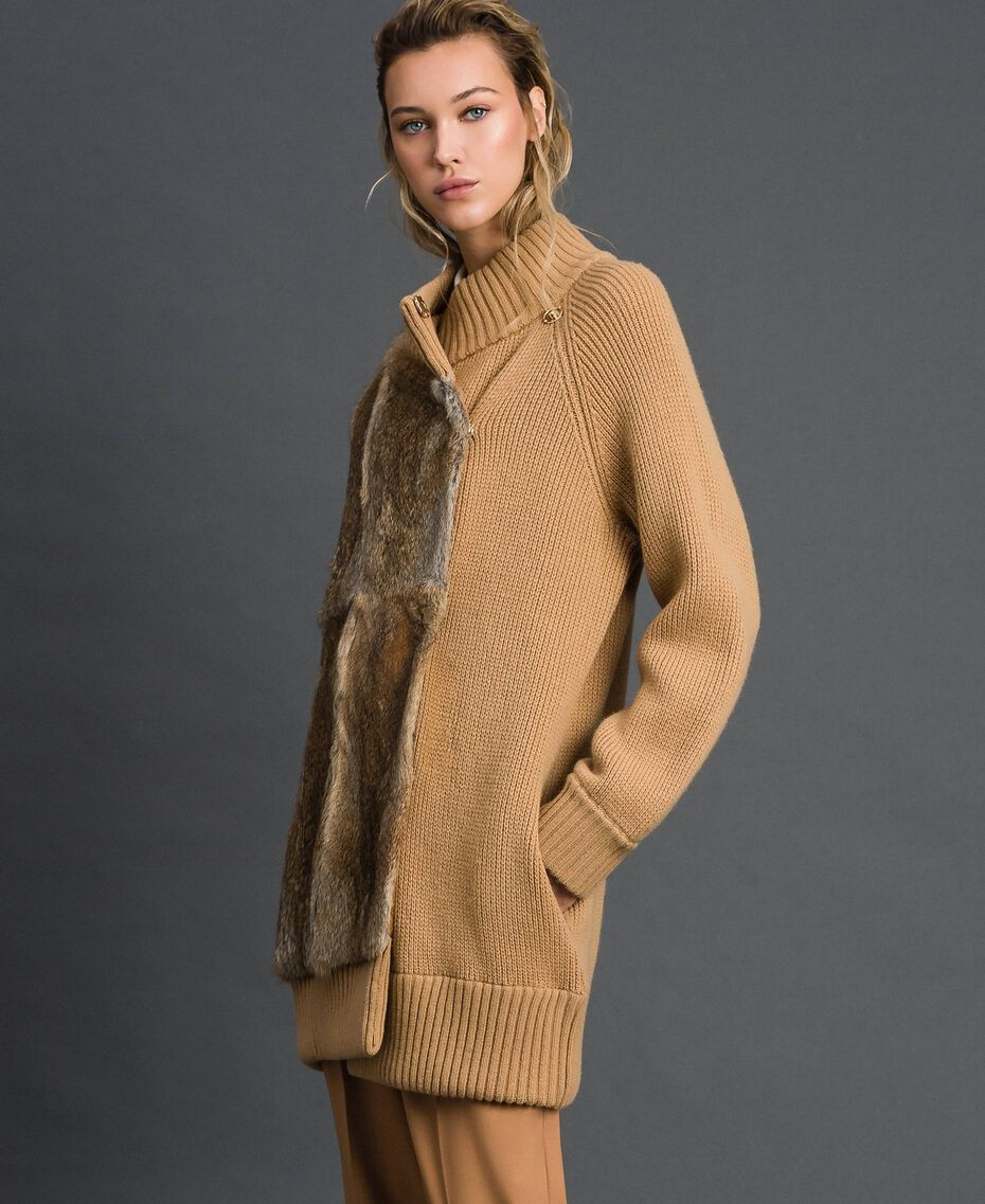"Knitted coat with rabbit fur inserts ""Iced Coffee"" Brown Woman 192TP3020-02"