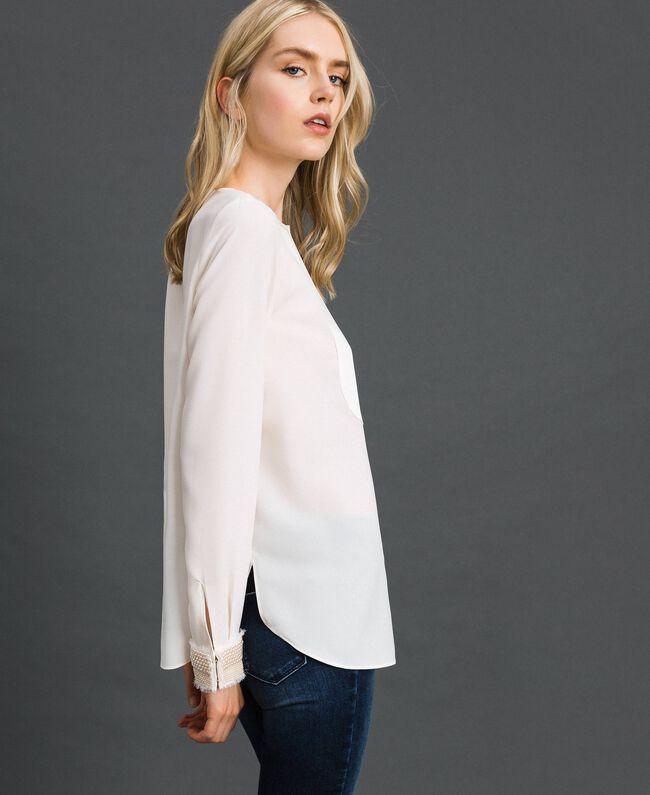 Blouse avec broderies de perles Blanc Neige Femme 192TT2320-03