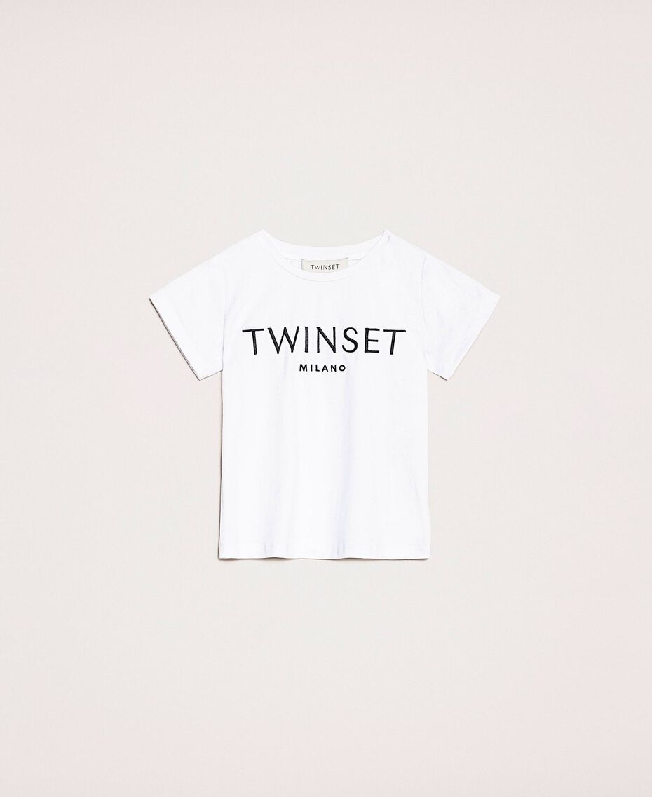 """T-shirt with embroidered logo Black Twinset Milano Embroidery / """"Papers"""" White Child 201GB2373-01"""