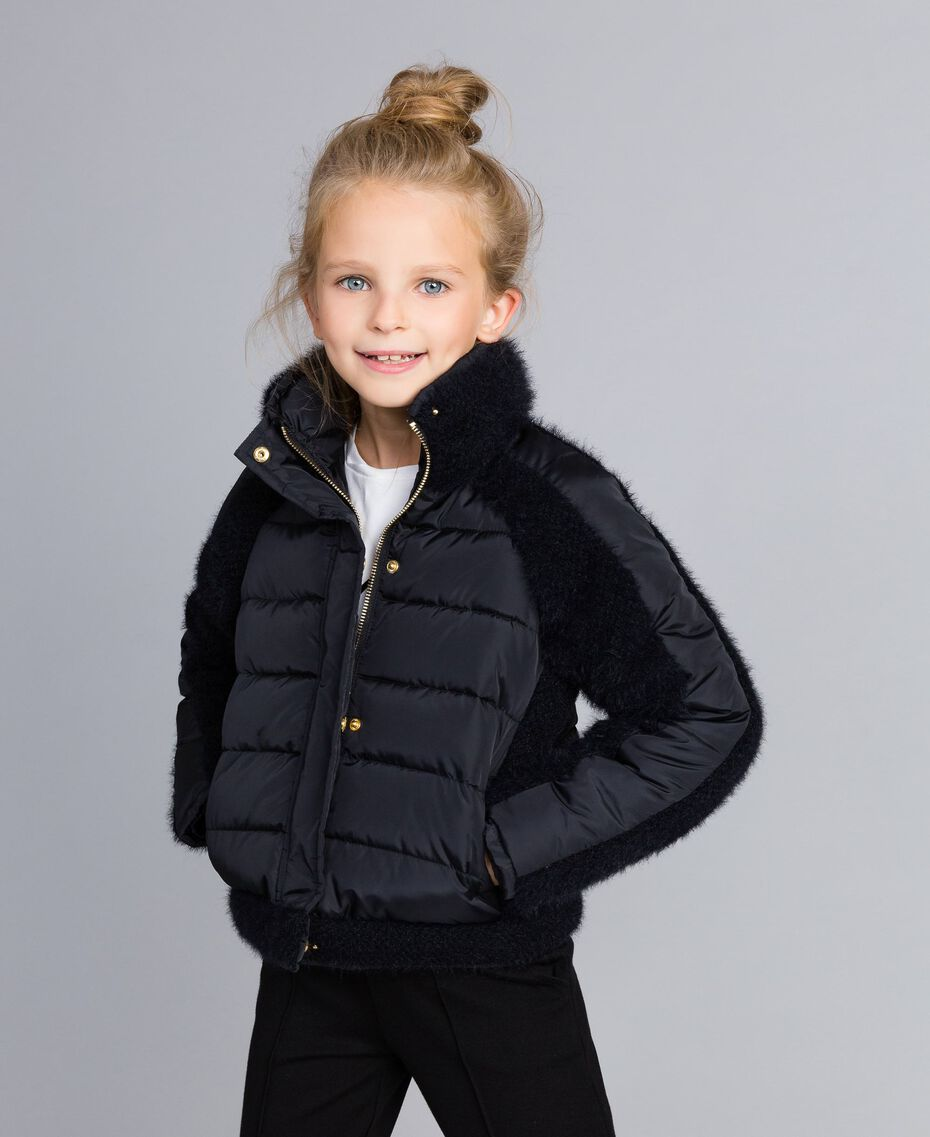 Short knit and nylon padded jacket Black Child GA82A4-0S