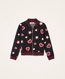 Жаккардовый кардиган со звездами и сердечками Жаккард Звезды Сердца / Черный Pебенок 202GJ3540-0S