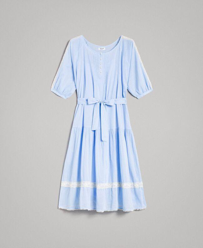 """Robe en voile ornée de dentelle et de broderies Bicolore Bleu Clair """"Atmosphère"""" / Écru Femme 191ST2113-0S"""