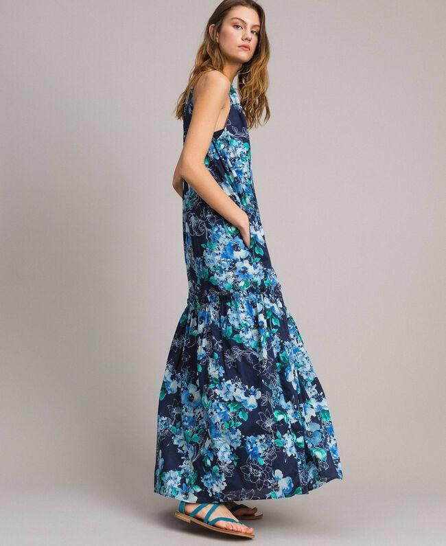 21891c9e6ba11 Abito lungo stampa fiori con scollatura americana Stampa All Over  Multicolor Flowers Blunight Donna 191MT2294-