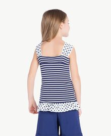 "Striped top Ocean Blue / ""Papyrus"" White Stripes / Flower Print Child GS83BB-04"