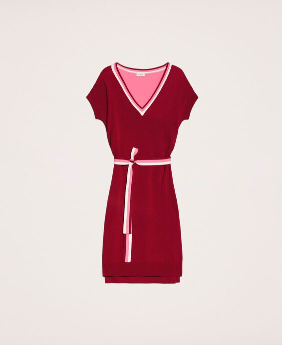 Two-tone knit dress with belt