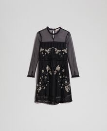 Plumetis tulle dress with floral embroidery Black Woman 192TT2041-0S
