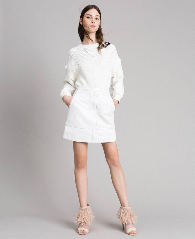 Minirock aus Leder Weiß Frau 191TP2163-01