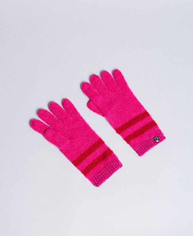 "Two-tone striped gloves Bicolour ""Poppy"" Red / ""Cerise"" Fuchsia Woman RA8T2L-01"