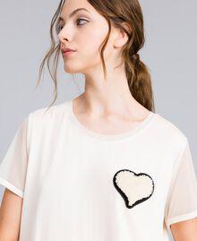 T-Shirt aus Jersey mit Stickerei Weiß Frau IA86KK-04