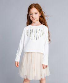 Jupe en tulle lurex Bicolore Blanc / Lurex Doré Enfant GA82L2-0S