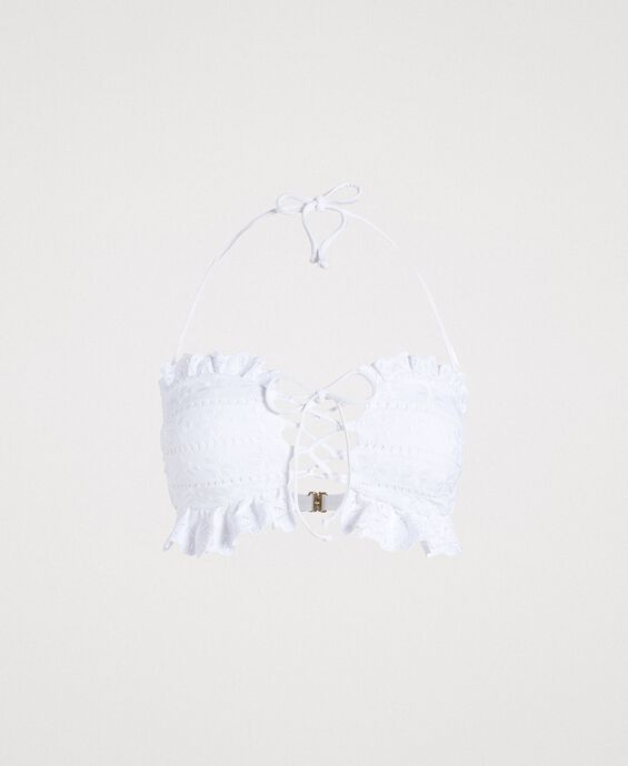 Bandeau bikini top with broderie anglaise embroidery
