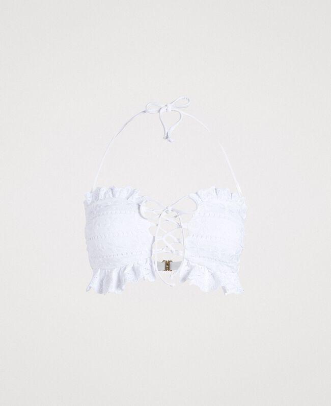 Bandeau-Bikinitop mit Lochstickerei Weiß Frau 191LBME11-01