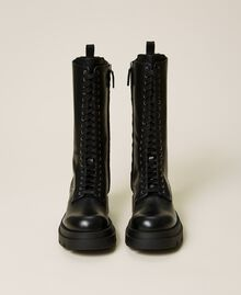 High top leather combat boots Black Woman 212TCP230-05