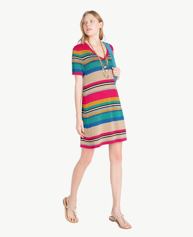 Kleid mit Lurex Multicolor-Lurexstreifen Frau TS833P-05
