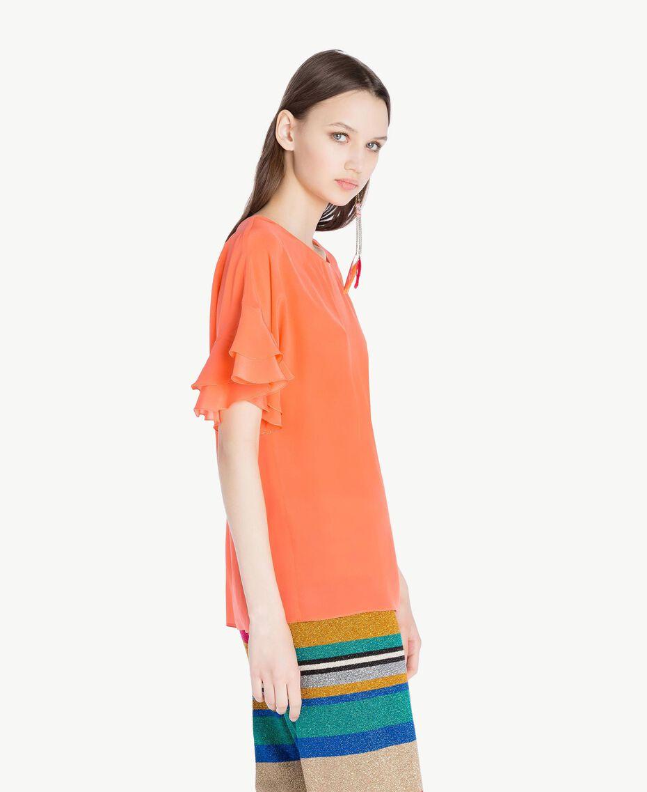 Blusa de seda Naranja Mujer TS827B-02