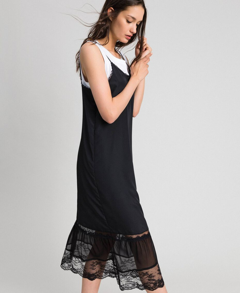 Long slip dress with lace and top Black Woman 192TP2572-02