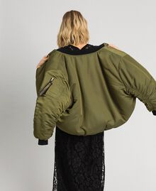 Reversible bomber jacket in technical satin Green Vetiver Woman 192MP2070-06