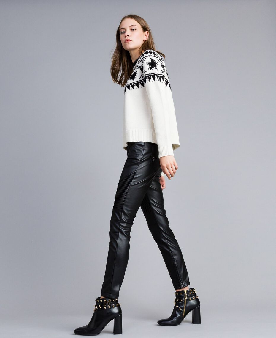 Pull jacquard avec clous Bicolore Blanc Nacre / Noir Femme JA83EA-02