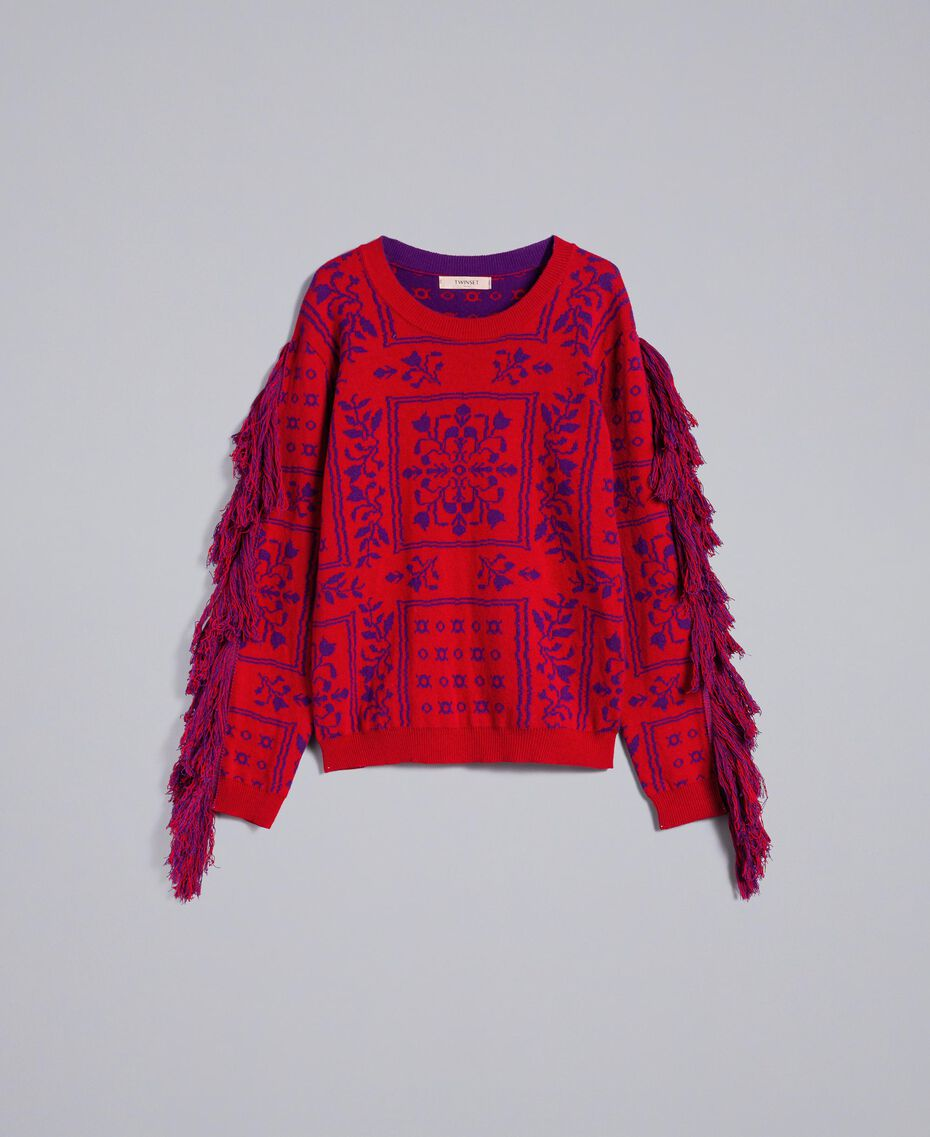 """Maxi jacquard jumper with fringes Two-tone """"Blackberry"""" Purple / Cherry Red Woman QA8TBN-0S"""
