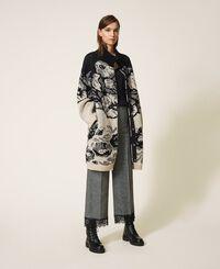 Mantel aus Jacquard-Strick mit Blumendessin