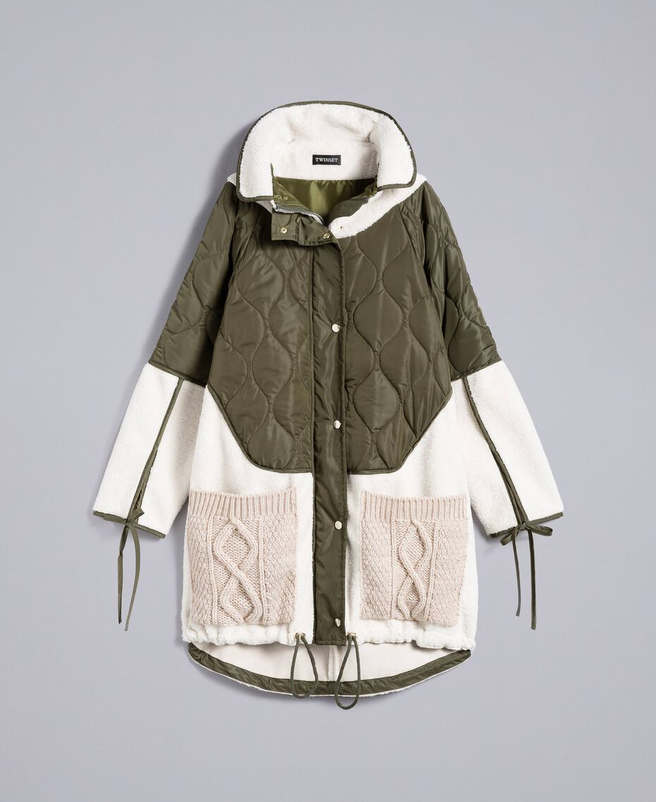 "Nylon and faux shearling parka Bicolour Forest Green / ""Snow"" White Woman TA82BQ-0S"