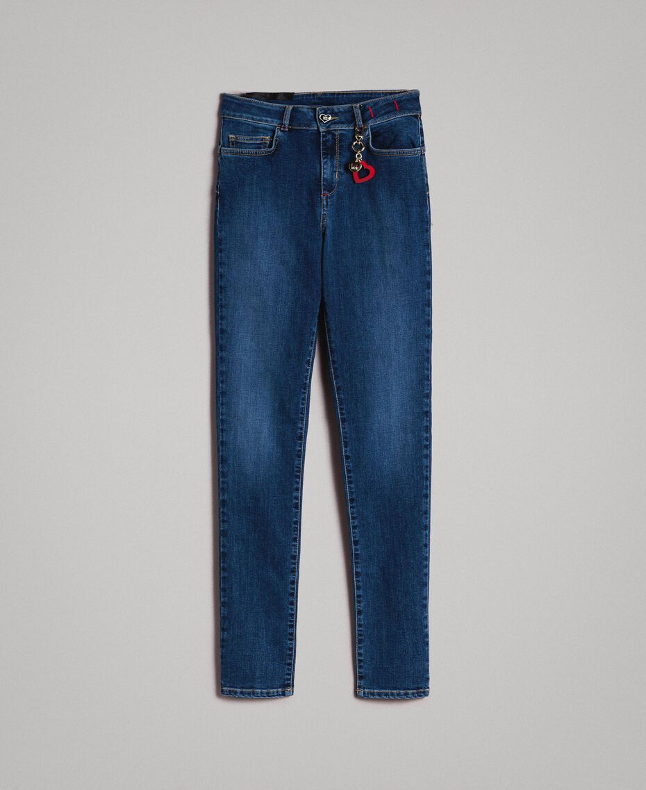 Skinny jeans with charms Denim Blue Woman JCN2V3-0S