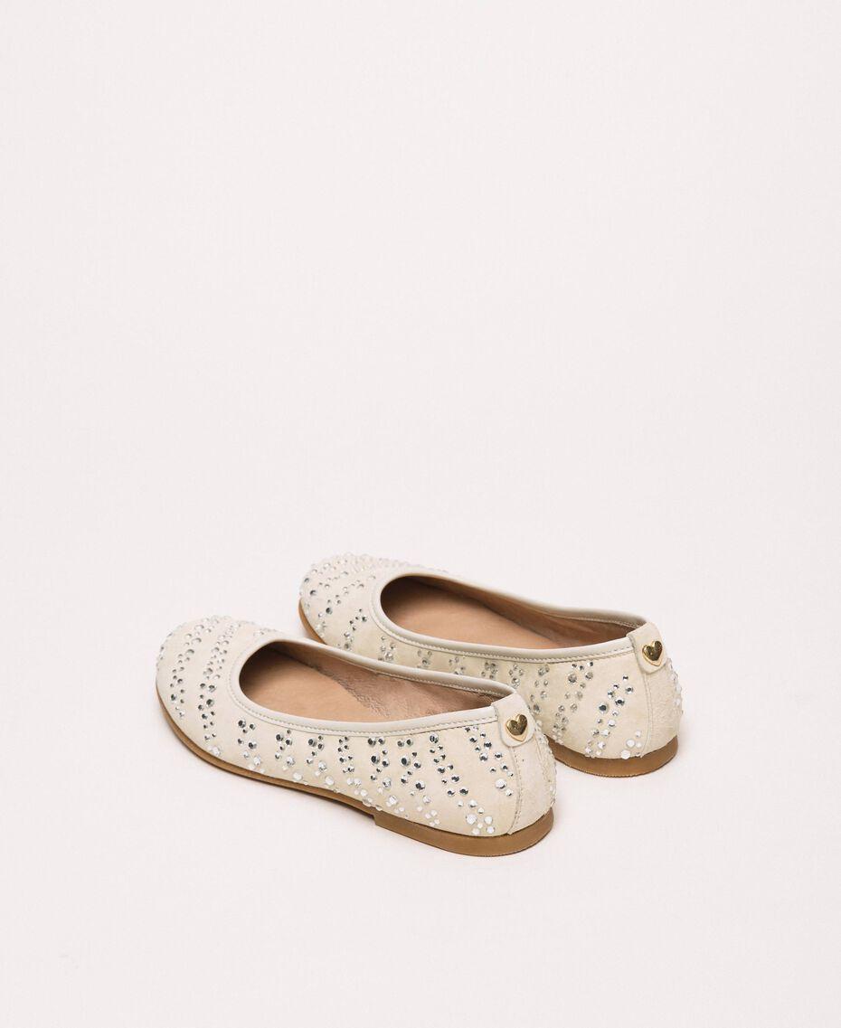 Suede ballerina shoes with rhinestones Pale Cream Child 201GCJ094-03