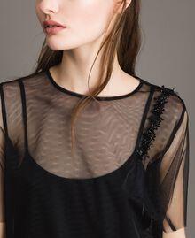 Blouse en tulle avec patch brodé Noir Femme 191MP2131-04