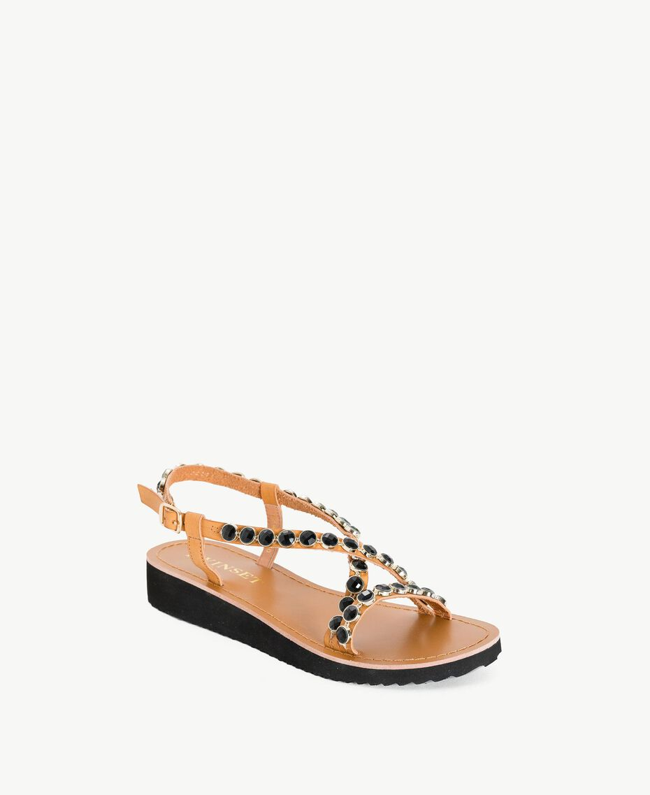 Sandales pierres Noir Femme MS8Z33-02