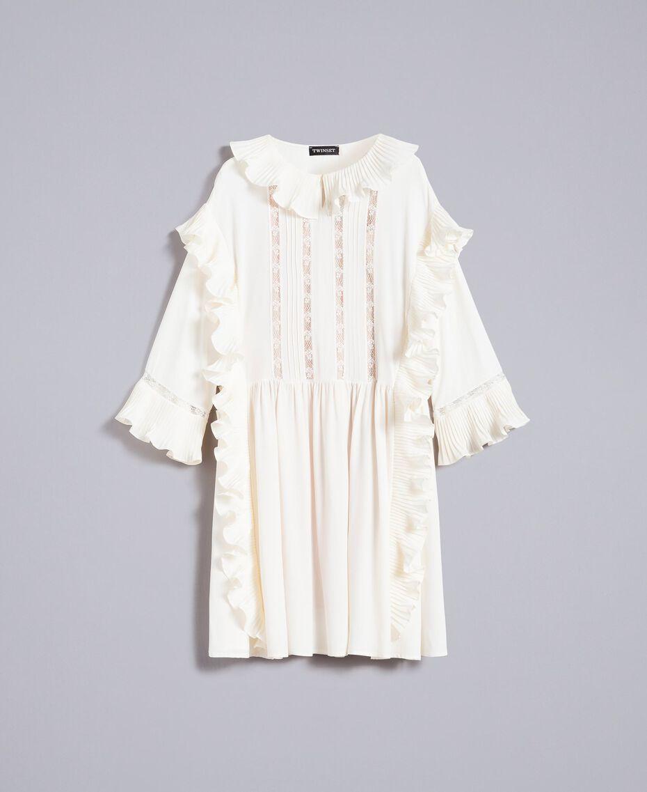 Robe courte en soie mélangée avec plissé Blanc Neige Femme TA823P-0S