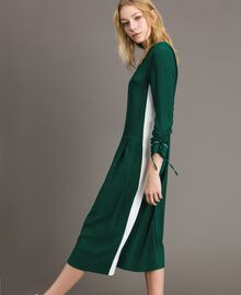 "Mid-length two-colour dress Two-tone ""Evergreen"" Green / Silk White Woman 191TP2325-02"