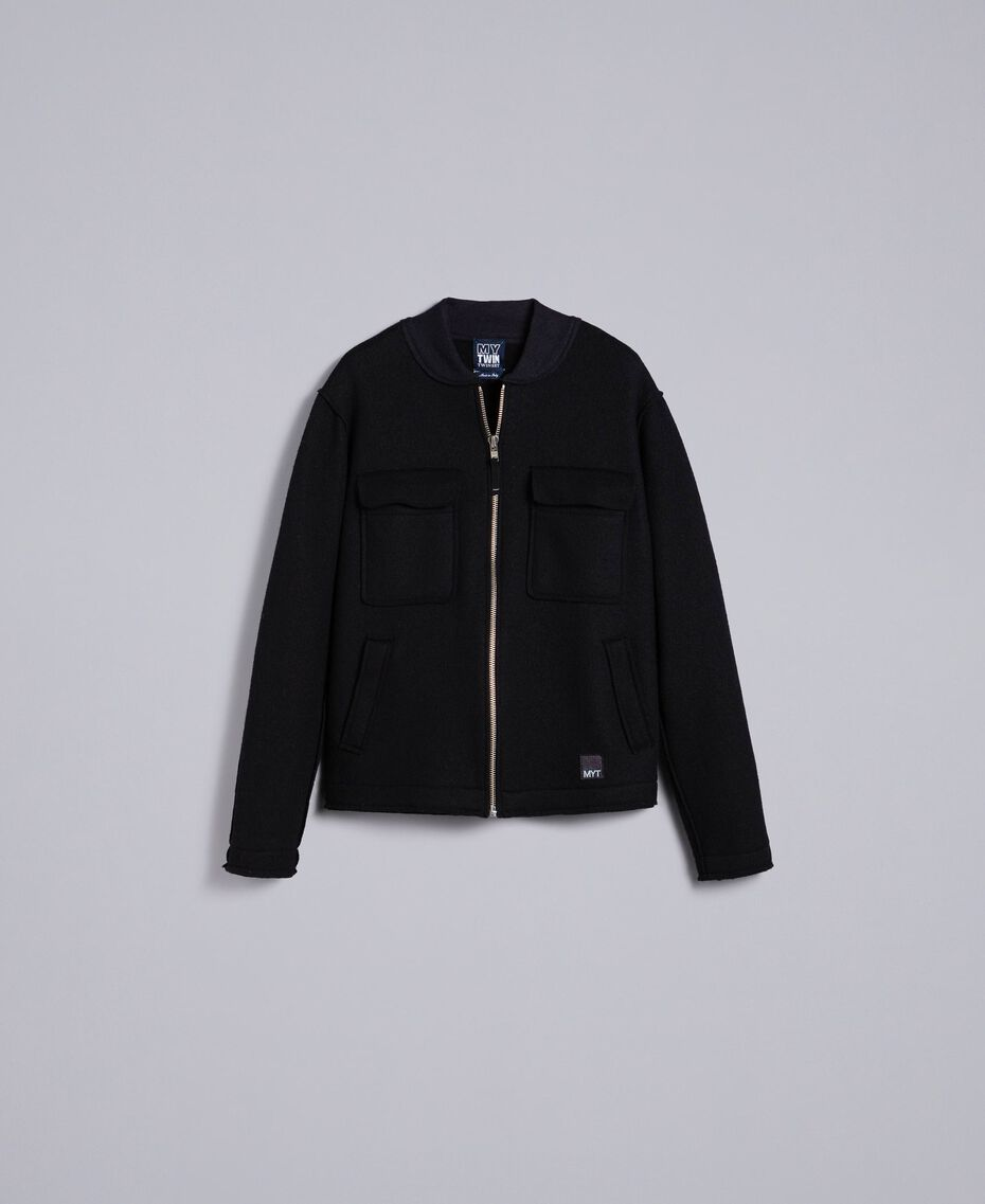 Boiled wool bomber jacket Black Man UA83CB-0S