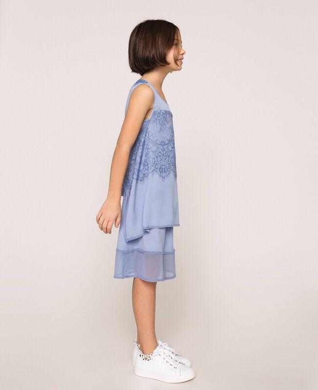 "Crêpe de Chine and lace dress ""Ice"" Dark Blue Child 201GJ2Q30-03"