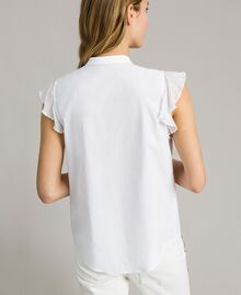 Popeline-Hemd mit Rüschen Weiß Frau 191TT2260-03