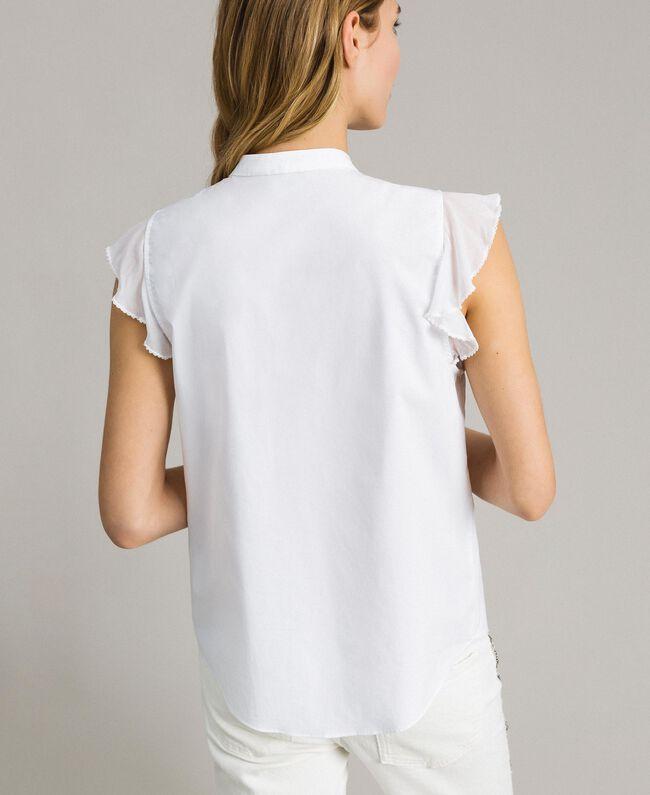 Chemise en popeline avec ruchés Blanc Femme 191TT2260-03