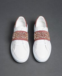 "Leather trainers with rhinestones ""Optical"" White/ ""Nude Pink"" Woman 192TCT110-05"