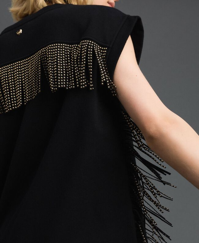 Maxi sweat avec franges et petits clous Noir Femme 192MP2231-04