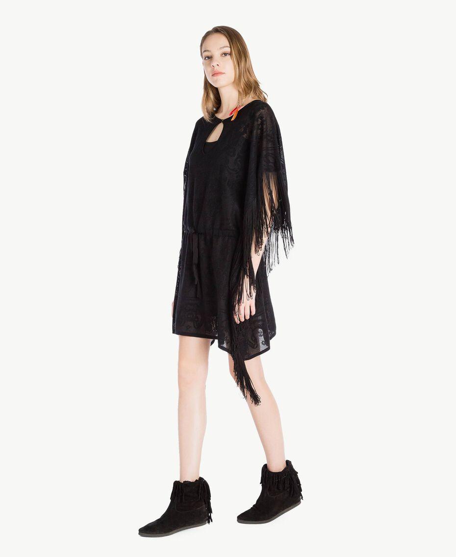 Poncho jacquard Noir Femme TS835D-02