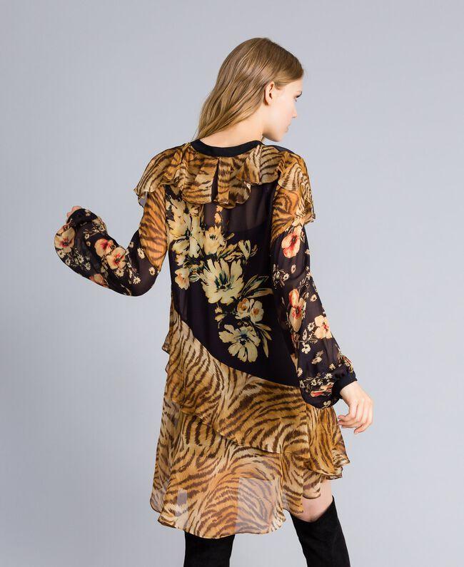 "Kurzes Kleid mit Printmix Print-Mix ""Flowers&Tiger"" Frau TA825C-03"