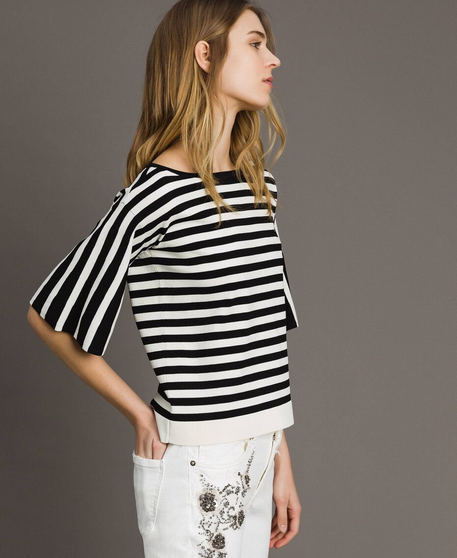 Striped top with bow Black / Ecru Striping Woman 191ST3020-02