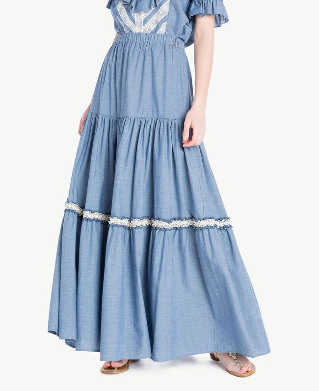 Long lace skirt Light Blue Denim Woman TS82YK-01