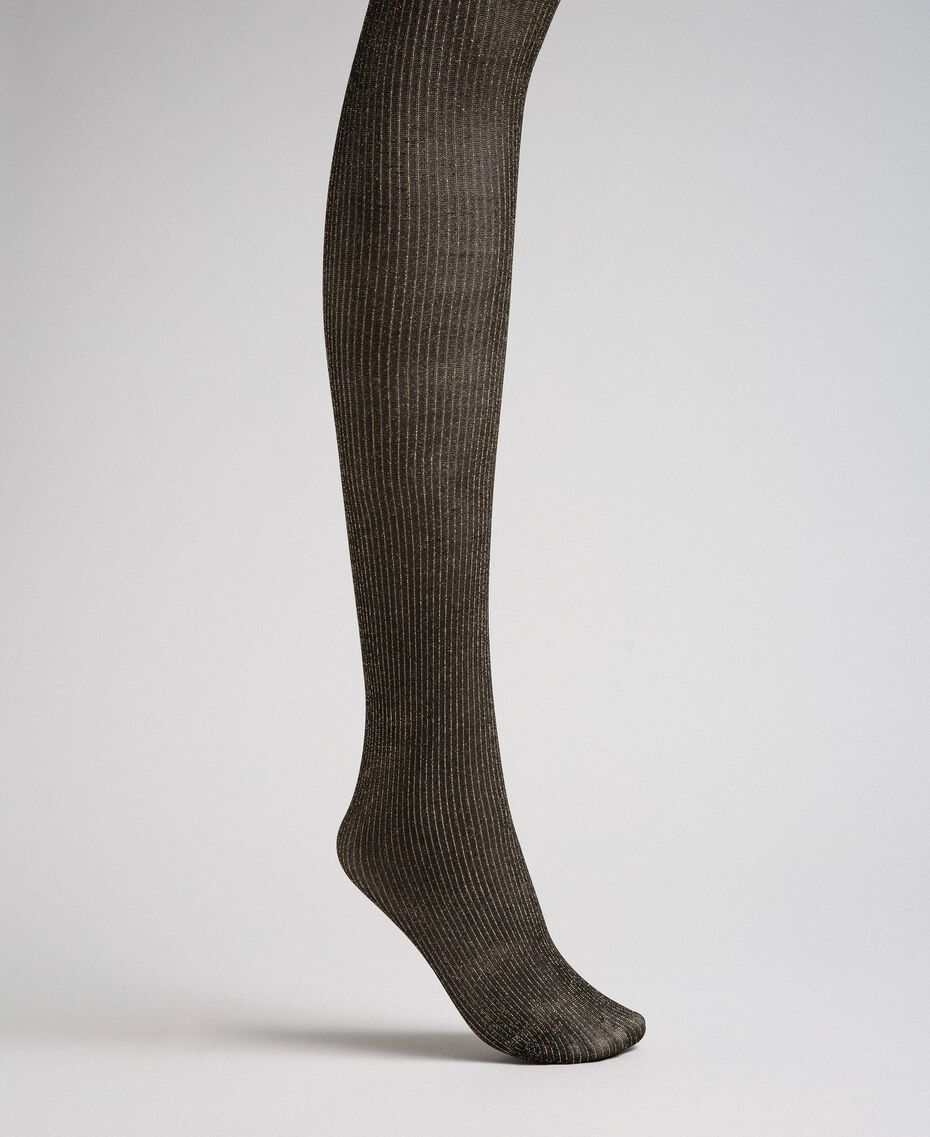 Pin stripe tights with lurex Two-tone Gold / Black Woman 192TO5419-01
